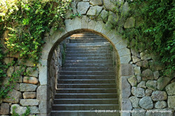 Mysterious staircase in park the Monjuic