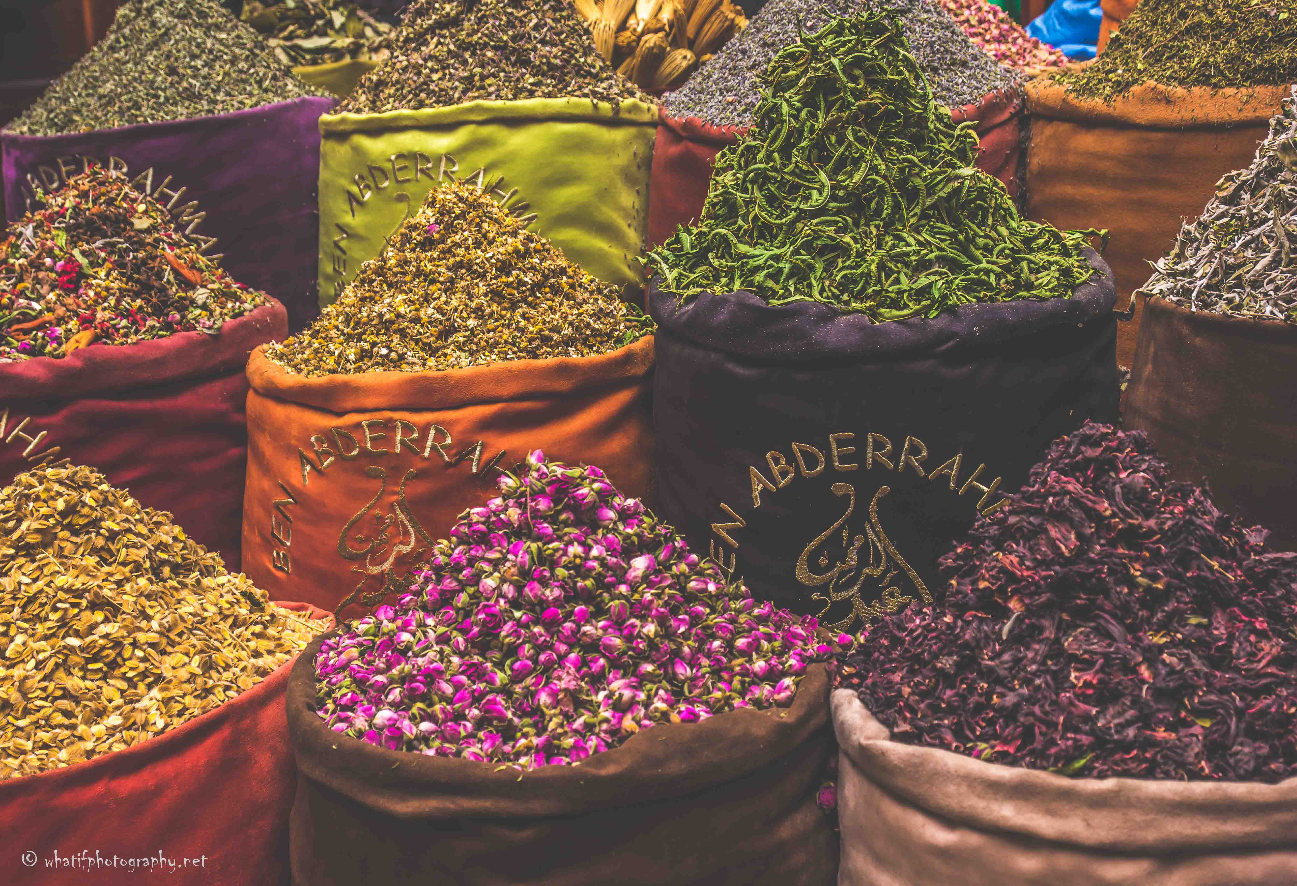 Colourful bags of spices in Marrakesh ma