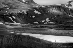 Euphoric person on Askja, Iceland