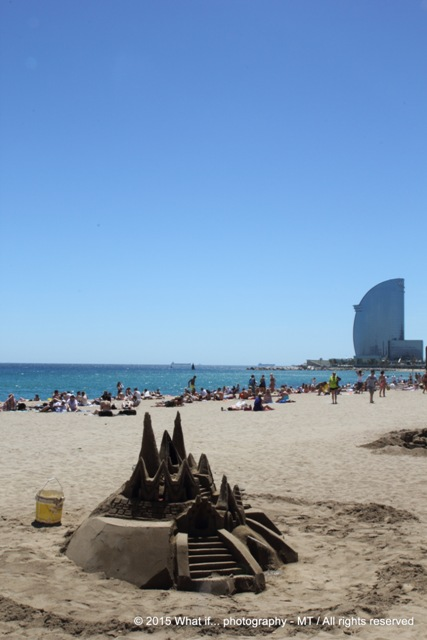 Sandcastle on the beach of Barcelona