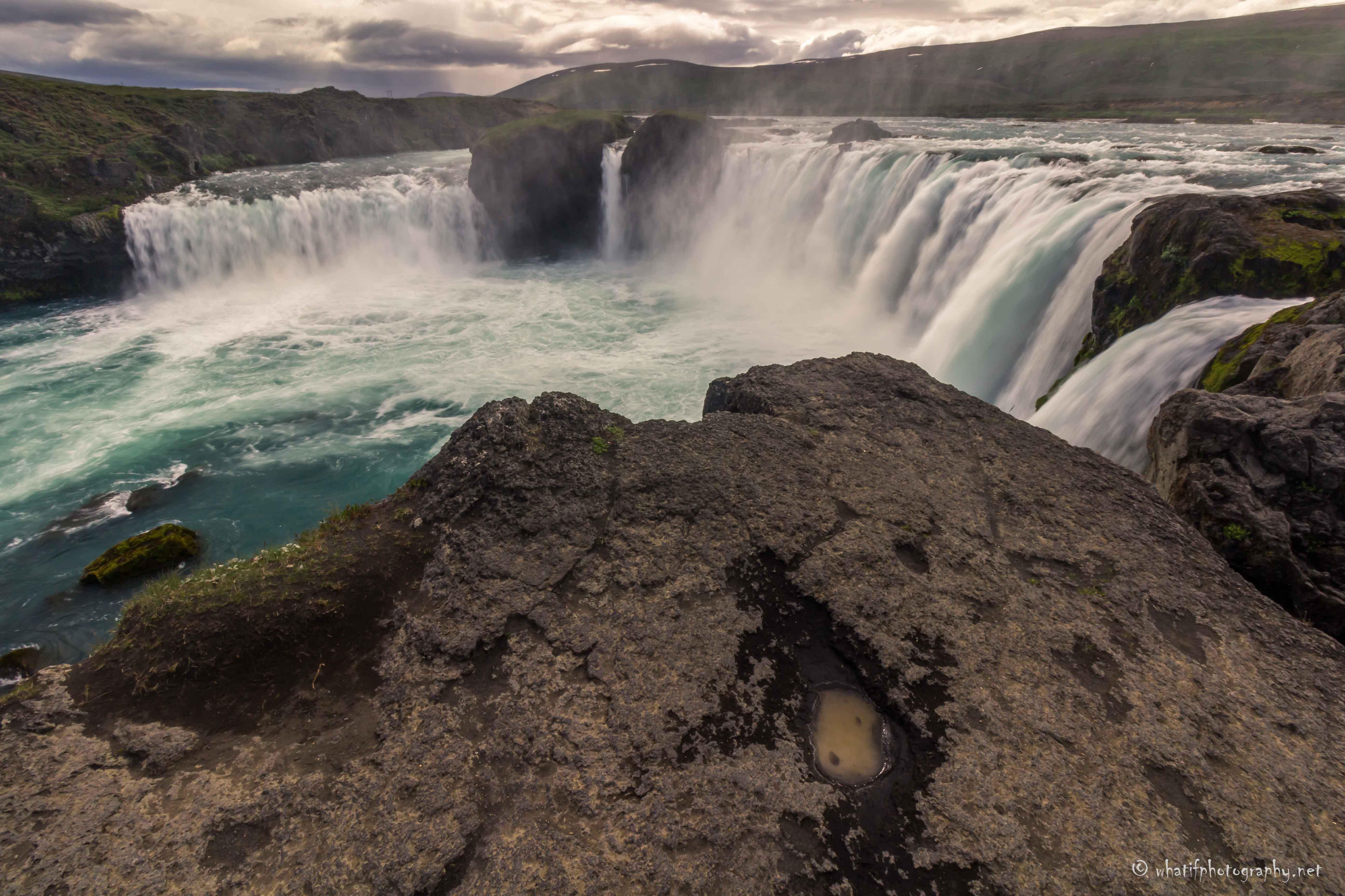 Godafoss, the waterfall of the gods, Ice