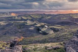 Sunset at Laka Gigar vulcanic area, Icel