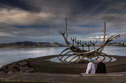 Older couple at the Sun Voyager, Reykjav
