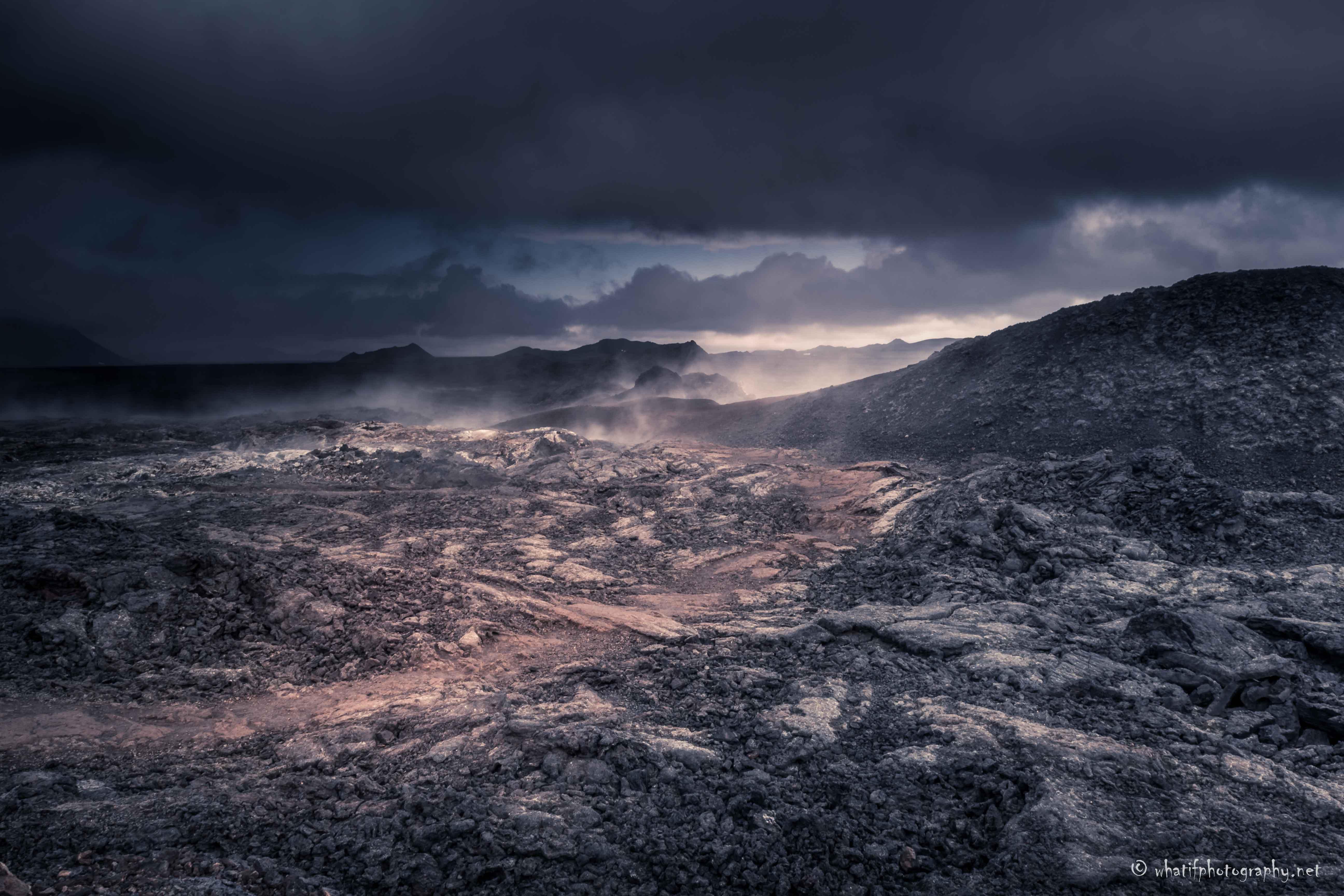 Fog at Krafla lava fields