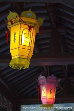 Chinese lampions at the ceiling