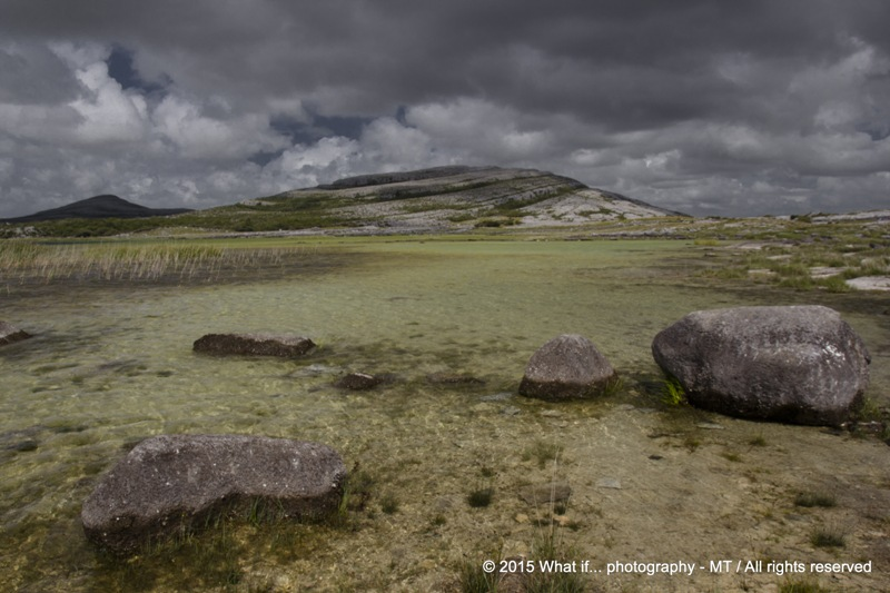 Swamps in front of  Mullaghmoore mountain at Burren national park (Irel