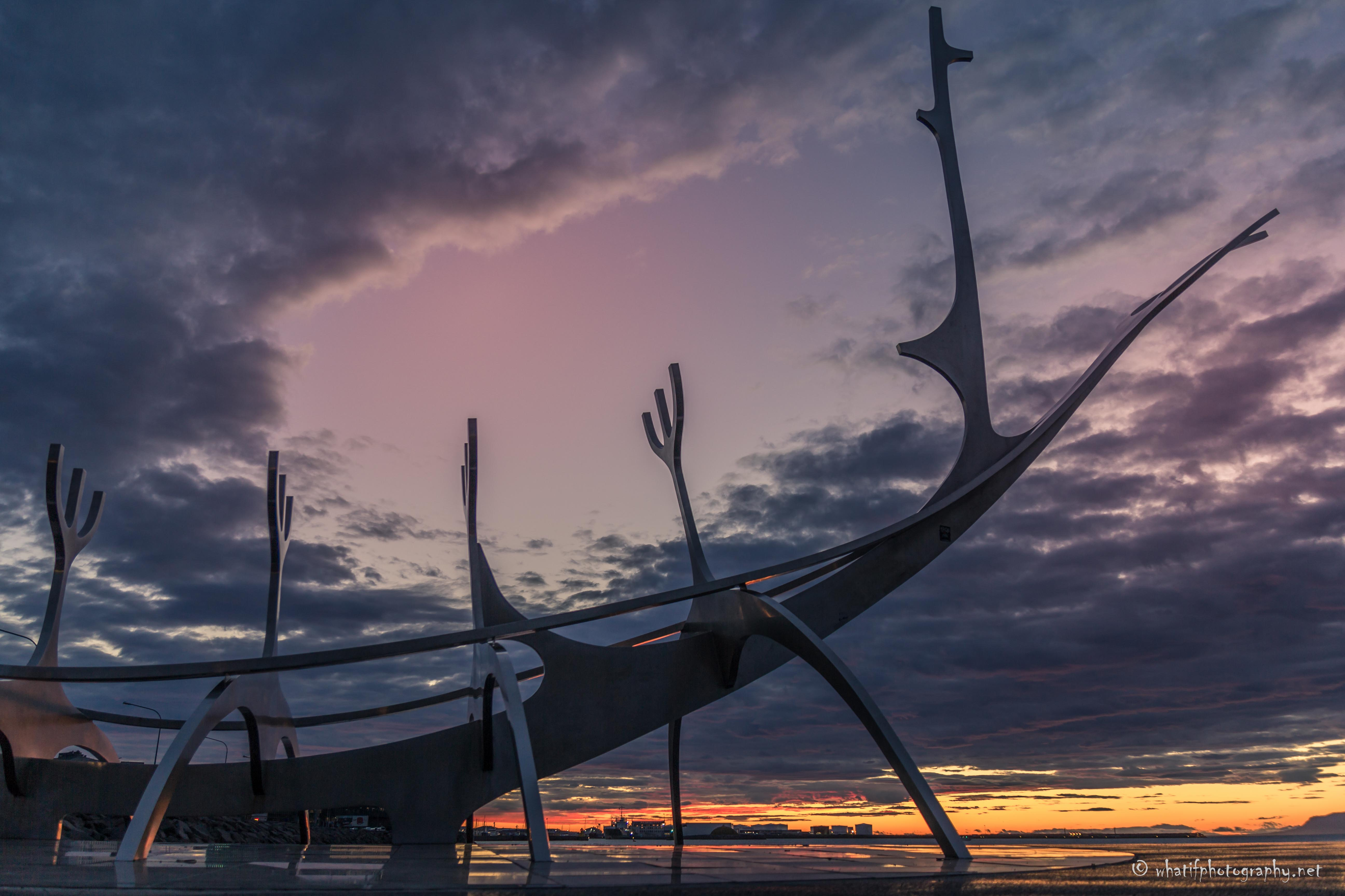 The Sun Voyager by sunset, Reykjavik, Ic
