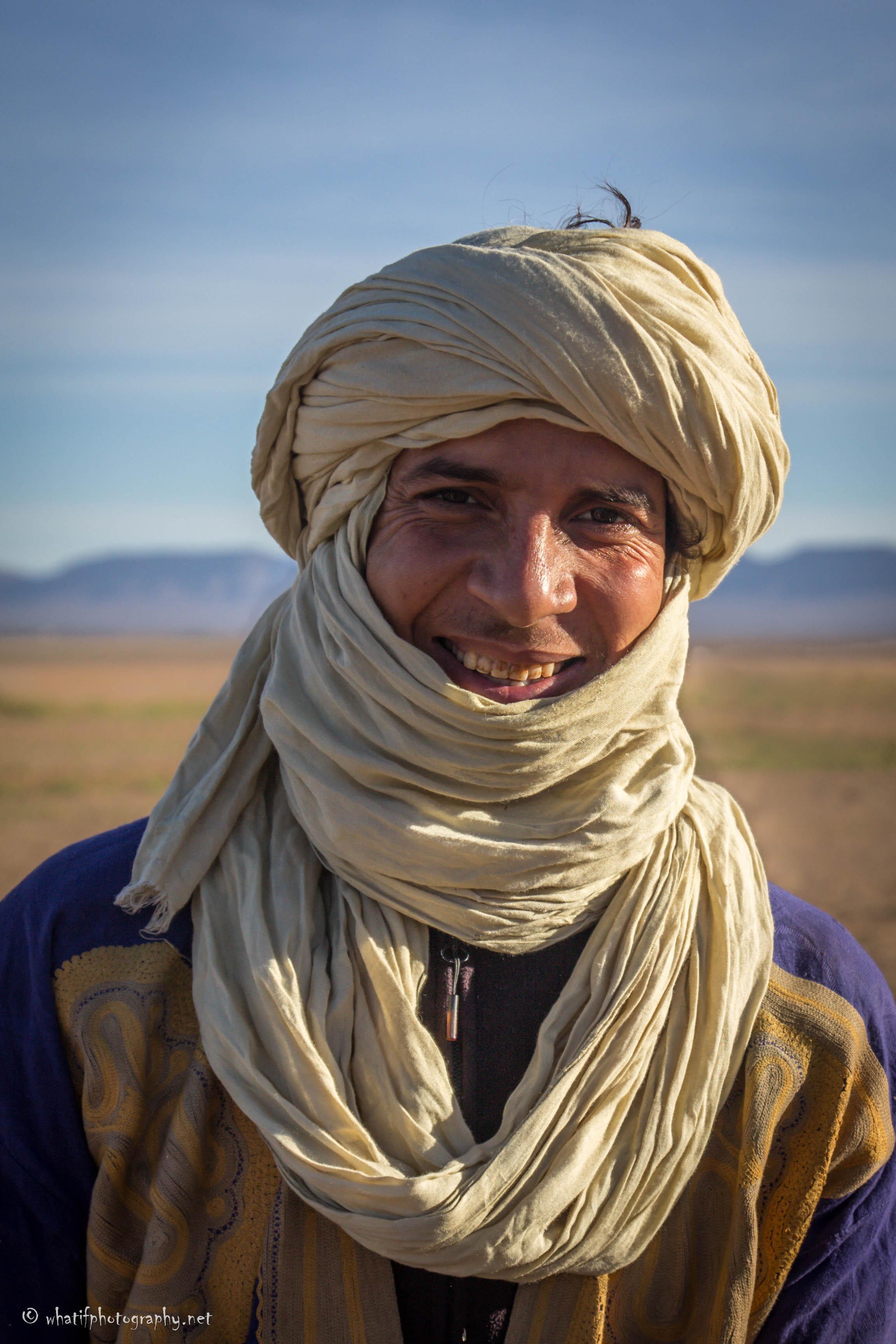 Smiling Berber in the desert