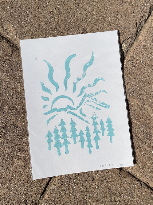 Mountain and Sun Block Print