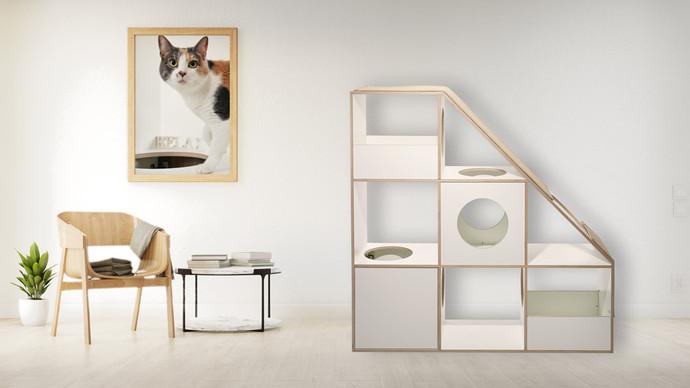 pawsonwood Katzenkratzmöbel | L – Der Katzentraum |Korpus: Weiß |Blenden: Weiß