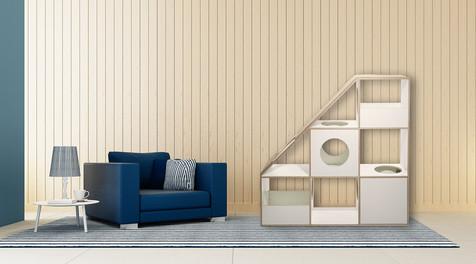 pawsonwood Katzenkratzmöbel   L – Der Katzentraum  Korpus: Weiß  Blenden: Weiß
