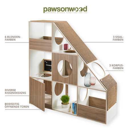 pawsonwood Katzenmöbel   Die einzigartige Kombination aus Designerregal und Katzenkratzbaum