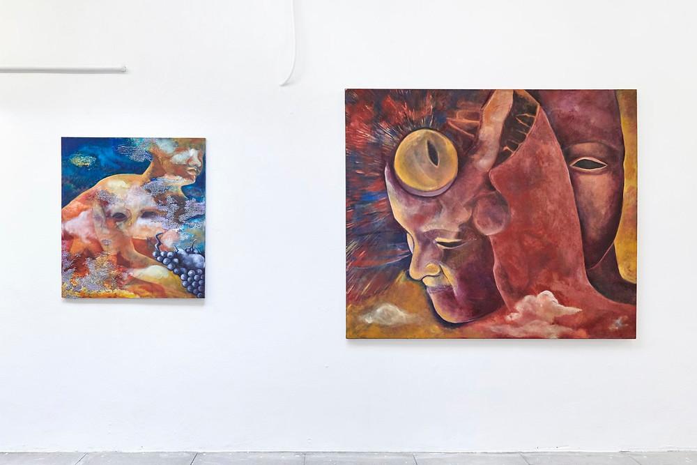 Installation View, Aurora Borealis #02, 2018, 90 x 75 cm (left) – Aurora Borealis #09, 2019, 130 x 160 cm (right)