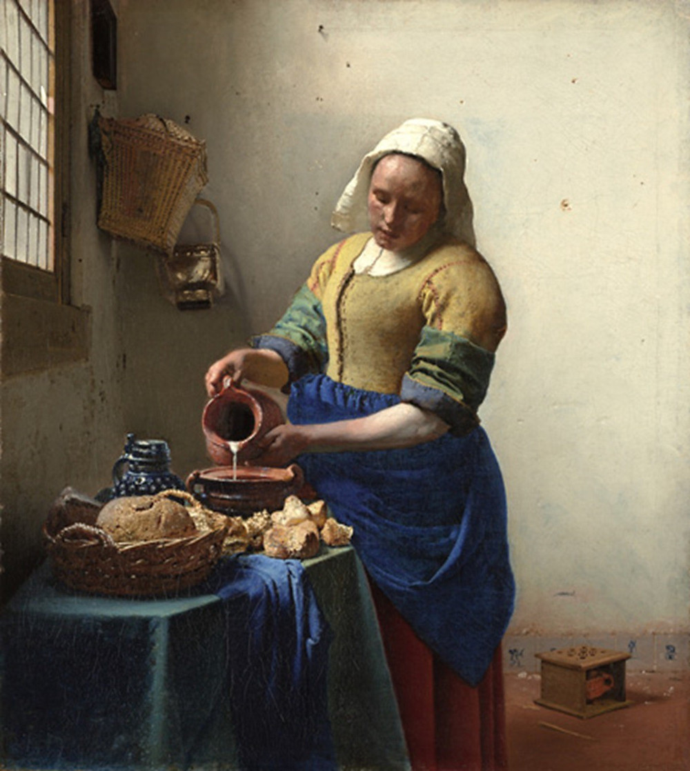 "The Dutch painter Jan Vermeer (1632–1665) is most famous for his genre paintings. In his masterpiece ""The Milkmaid"", 1658, he captures with great detail what a domestic kitchen maid does: the pouring of milk into a stoneware. Rijksmuseum, Amsterdam."