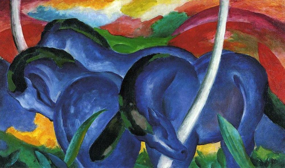 "Franz Marc, ""Large Blue Horses"", 1911, Walker Art Center, Minneapolis."