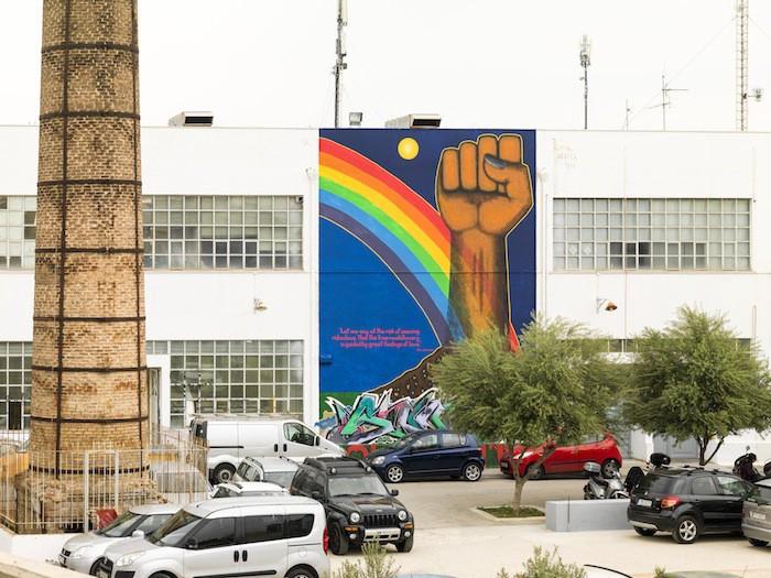 "Gordon Hookey, ""Solidarity"", Mural at Athens School of Fine Arts (ASFA), 2017."