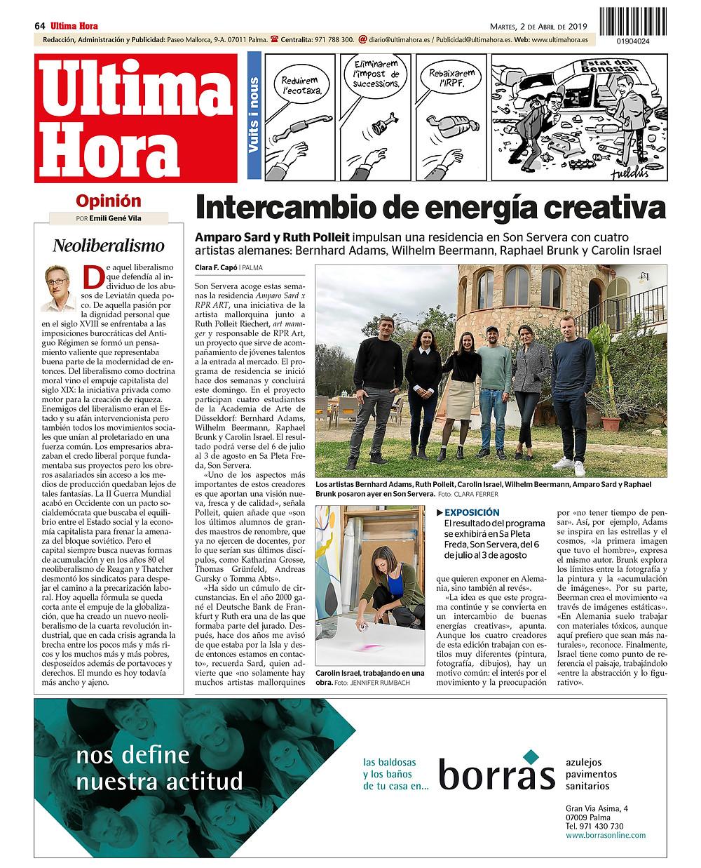Presse Artikel in Ultima Hora