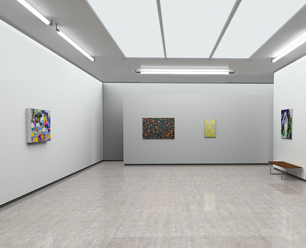 Raphael Brunk, CR_02, 2019 (far left); Bernhard Adams, Deepfield XVII, 2019 (left); Bernhard Adams, Deepfield XVII, 2019 (right); Carolin Israel, Hoheit, 2019 (far right)