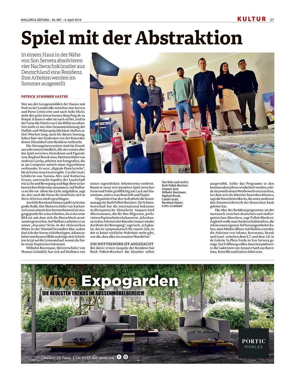 Presse Artikel in der Mallorca Zeitung