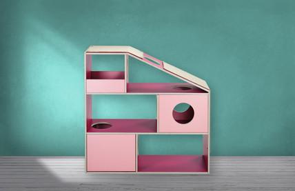 pawsonwood Katzenkratzmöbel   M – Die Sympawtische  Korpus: Rosa  Blenden: Pink