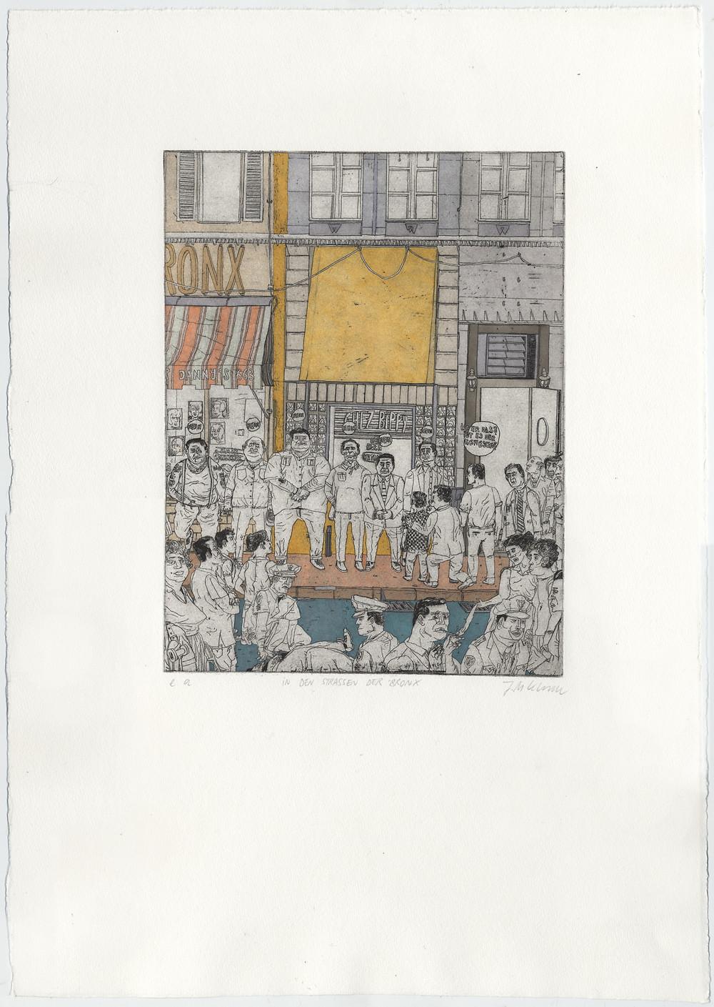 "Julius Klemm, ""A Bronx Tale"", Etching, 2016."