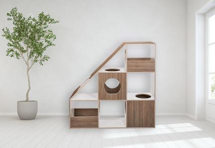 pawsonwood Katzenkratzmöbel   L – Der Katzentraum  Korpus: Weiß  Blenden: Nussbaum