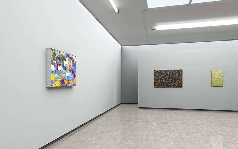 Raphael Brunk, CR_02, 2019 (left); Bernhard Adams, Deepfield XVII, 2019 (right); Bernhard Adams, Deepfield XVII, 2019 (far right)