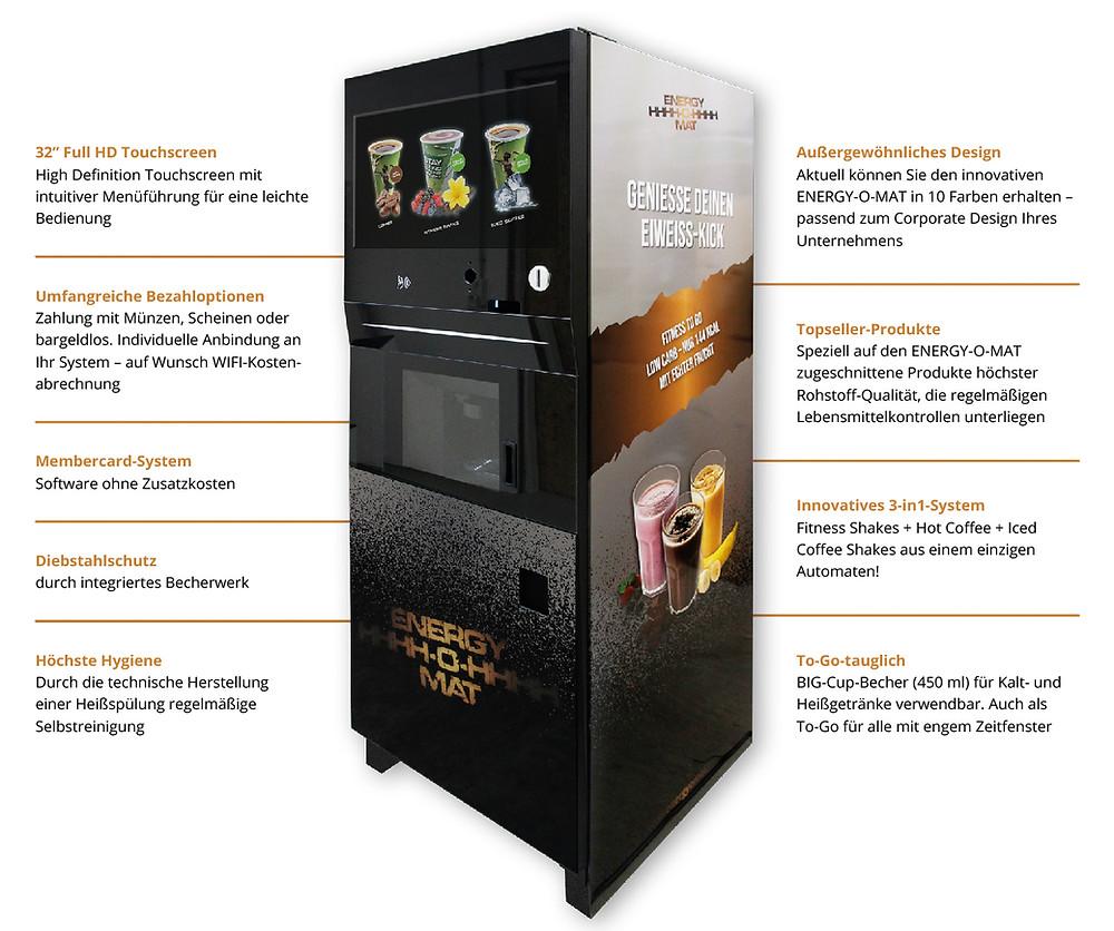 ENERGY-O-MAT: Der weltweit einzige Getränkeautomat für Heiß- und Kaltgetränke begeistert mit zahlreichen Features