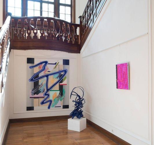 "Anna Nero, ""Nightlife"", 2017 (left); Peter Müller, ""Filou II"", 2018 (middle); Ryo Kinoshita, ""Raum der Seile"" (""Room of Ropes""), 2018 (right)"
