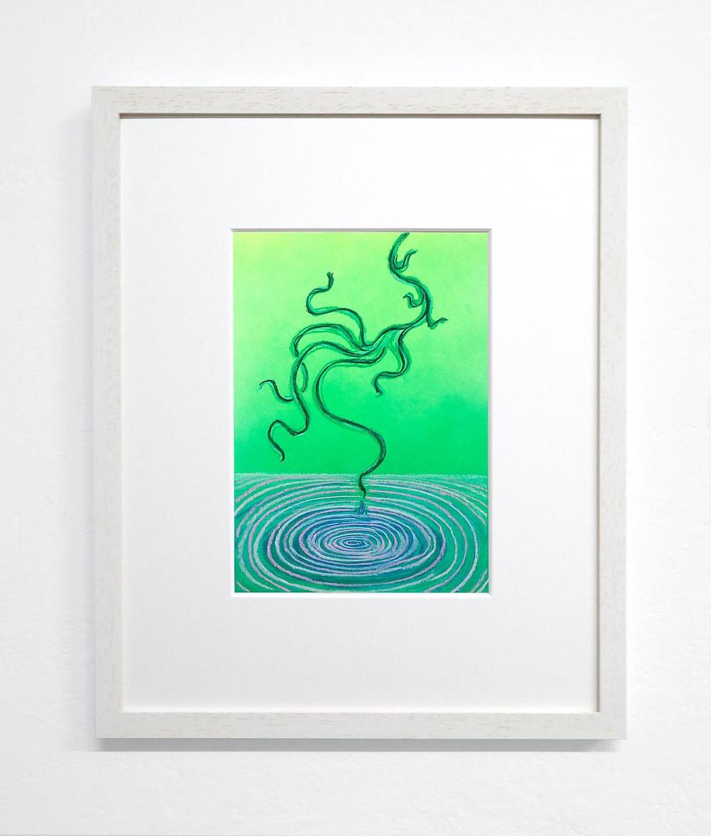 Mevlana Lipp Floating, 2021 Pastel Ink Drawing framed 37 x 30 cm 770 EUR incl. VAT