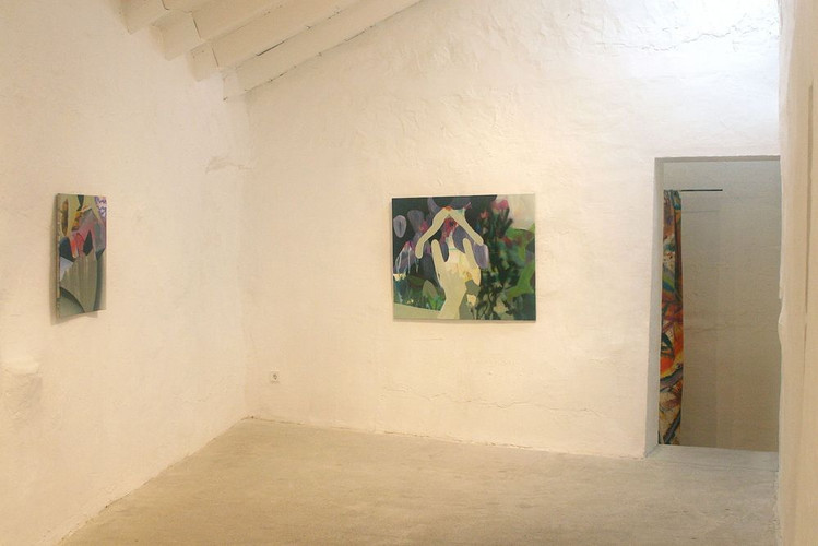 Paintings by Carolin Israel and Installation (detail) by Bernhard Adams (right)