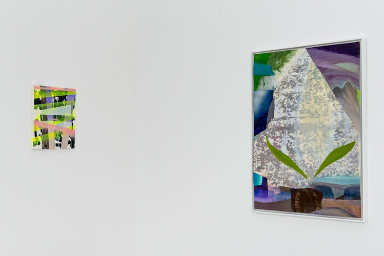 Paintings by Michal Raz (left) and Carolin Israel (right)
