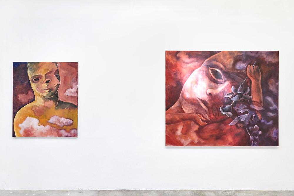 Installation View, Aurora Borealis #08, 2018, 105 x 90 cm (left) – Aurora Borealis #07, 2018, 130 x 160 cm (right)