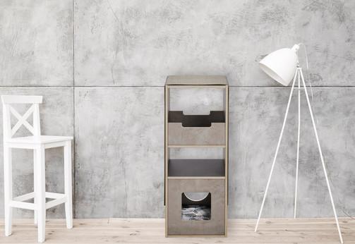 pawsonwood Katzenkratzmöbel   S – Das Kratztastische Korpus: Beton dunkel  Blenden: Beton hell