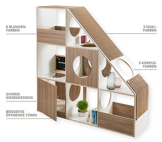 pawsonwood Katzenmöbel | Die einzigartige Kombination aus Designerregal und Katzenkratzbaum
