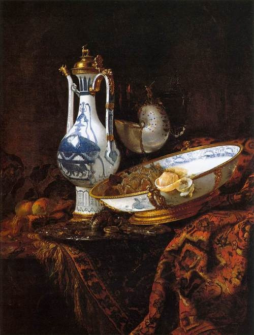 "The Dutch painter Willem Kalf (1622–1693), specialized in still lives: ""Still Life with an Aquamanile, Fruit, and a Nautilus Cup"", c. 1660, Museo Thyssen-Bornemisza, Madrid."
