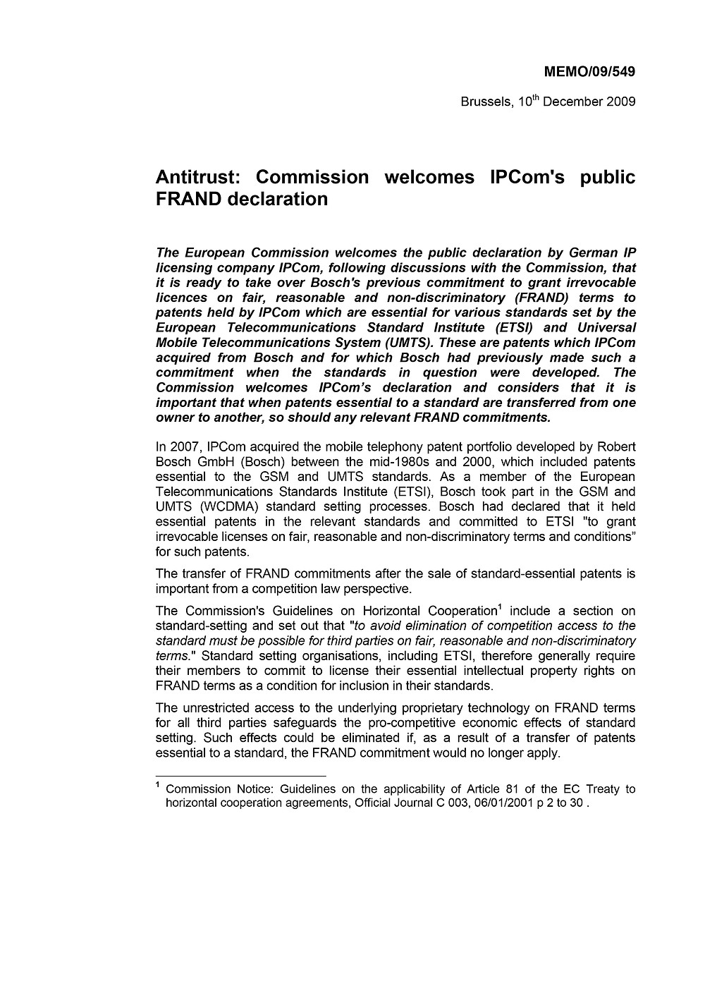 Antitrust: Commission welcomes IPCom's public FRAND declaration