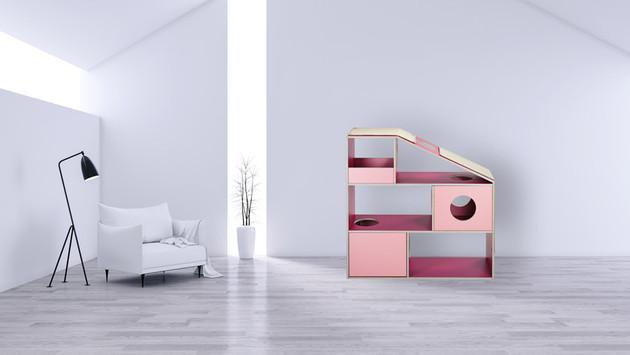 pawsonwood Katzenkratzmöbel | M – Die Sympawtische |Korpus: Rosa |Blenden: Pink