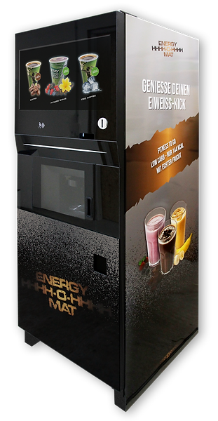 ENERGY-O-MAT | Der weltweit erste Getränkeautomat für Heiß- & Kaltgetränke | Innovatives 3-in-1-Hightech-System | Proteinautomat, Eiweißshake-Automat, Kaffeeautomat | Silver Edition