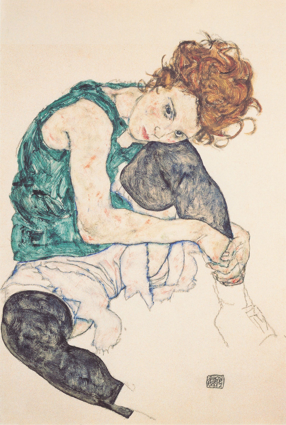 "Egon Schiele, ""Sitting Woman with Legs Drawn Up"", 1917, National Gallery, Prague."