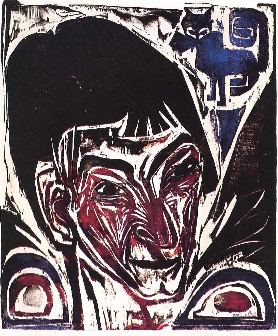 Ernst Ludwig Kirchner, Portrait of Otto Mueller, Woodcut, 1915.