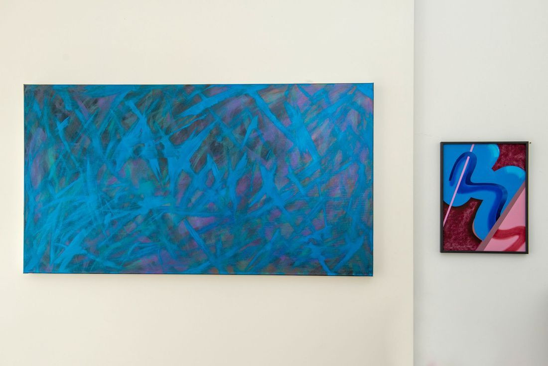 Paintings by Bernhard Adams (left), Anna Nero (right)