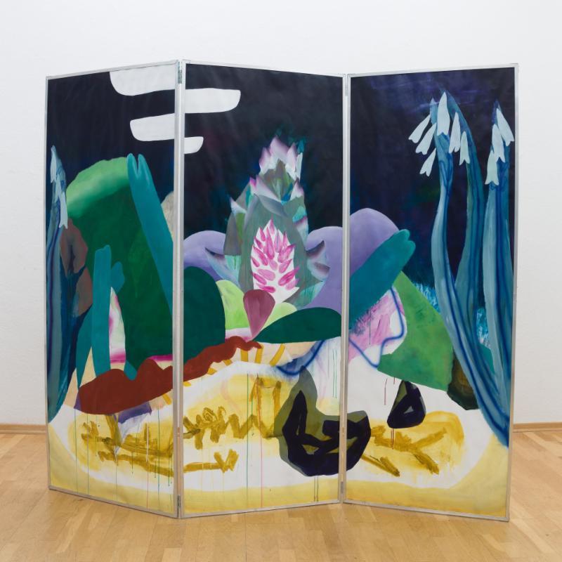 Carolin Israel, Paravent, 2019 (front) Acrylic on Paper, MDF, Aluminium 230 x 201 cm