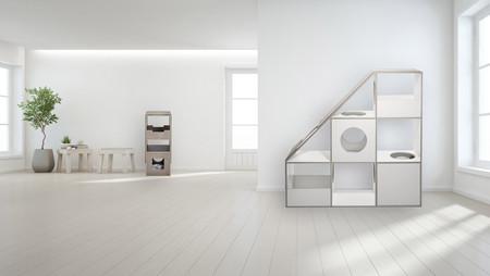 pawsonwood Katzenkratzmöbel   S – Das Kratztastische Korpus: Beton dunkel  Blenden: Beton hell + L – Der Katzentraum  Korpus: Weiß  Blenden: Weiß