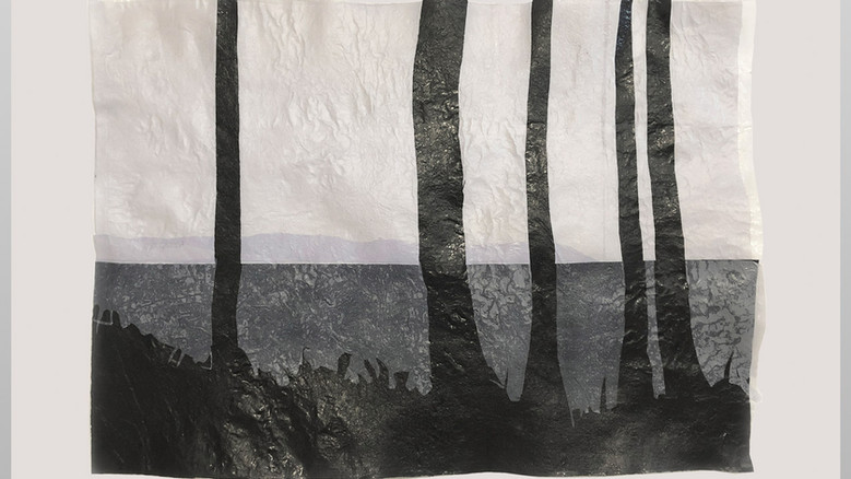 Amparo Sard I Landscape 3 (Five pines in Mallorca) I 2020 I Recycled plastic, framed I 48 x 65 cm