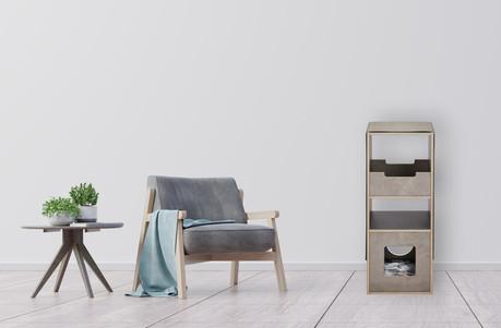 pawsonwood Katzenkratzmöbel | S – Das Kratztastische|Korpus: Beton dunkel |Blenden: Beton hell