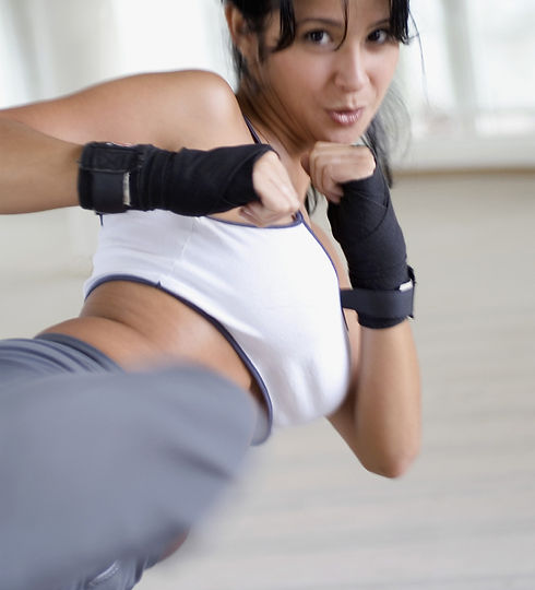 Women cardio kickboxing and MMA
