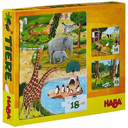Animal Puzzles 12, 15, 18 pcs (Haba 4960) 3yrs+
