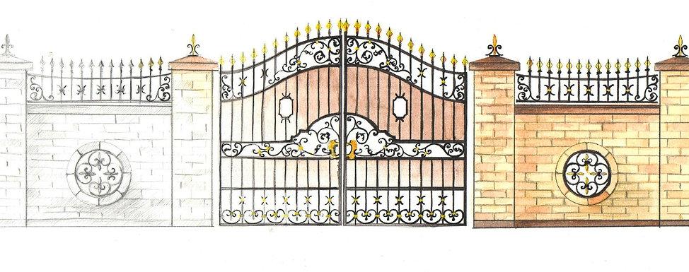 Кованые ворота эскиз Русские узоры