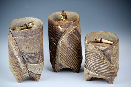 Three Kohiki jars with antler knobs